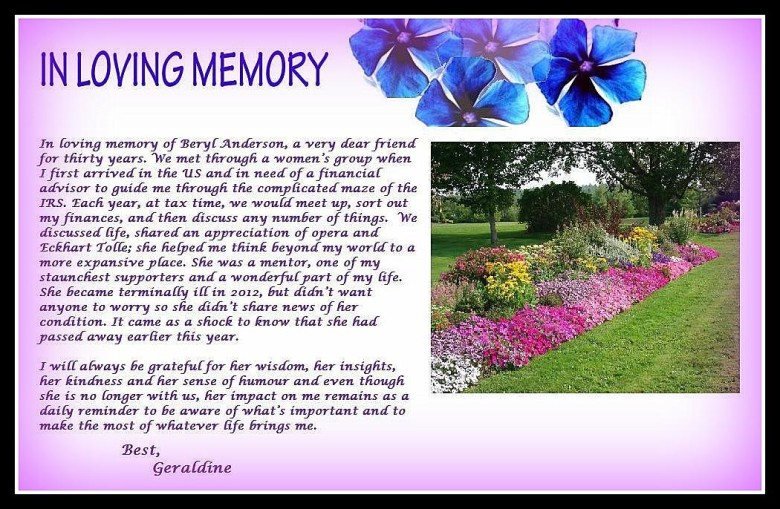 A Tribute To Beryl Anderson…