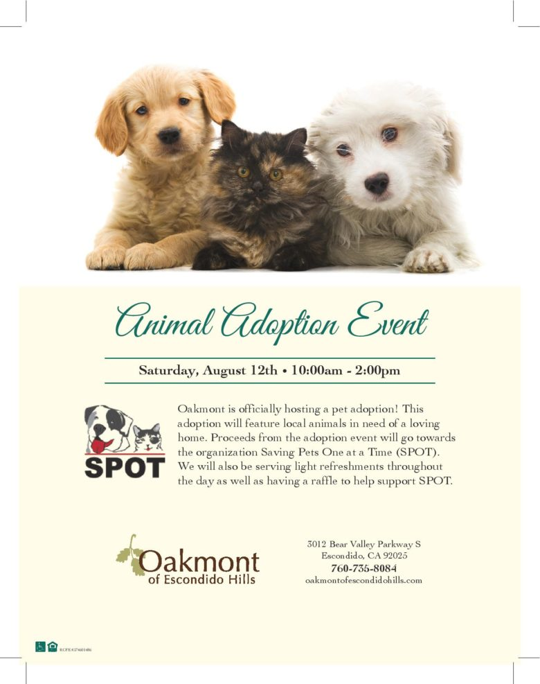 Adoption event at Oakmont!!